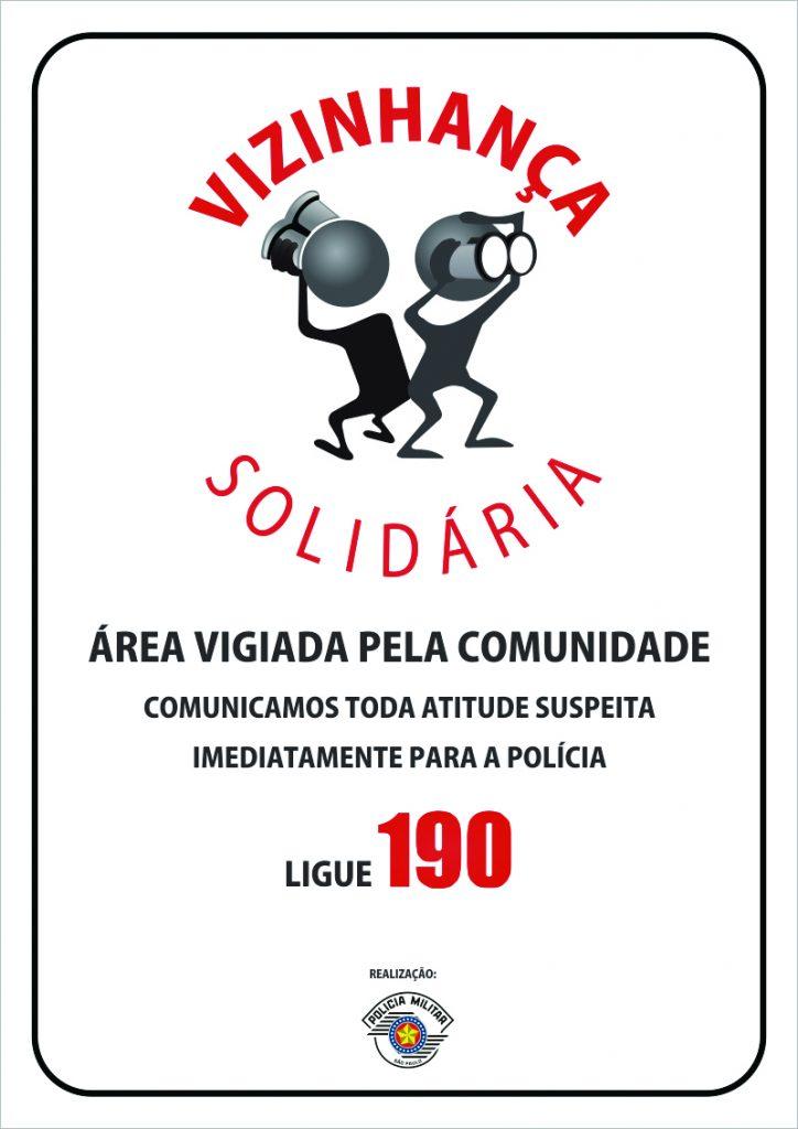 Placa Informativa da existência do Programa Vizinhança Solidária no bairro