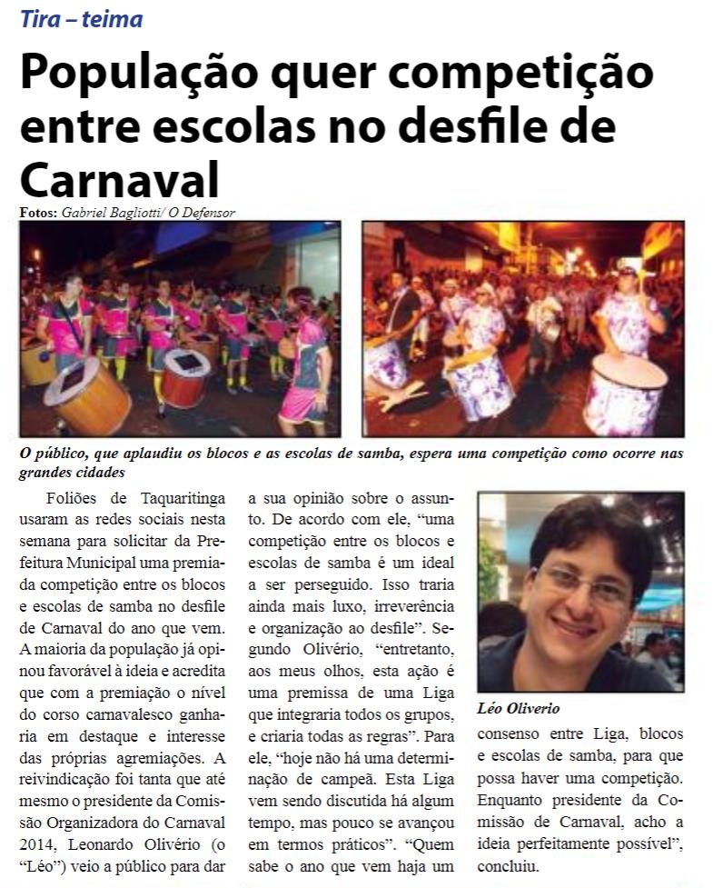 Reprodução Jornal O Defensor - 07/03/2014